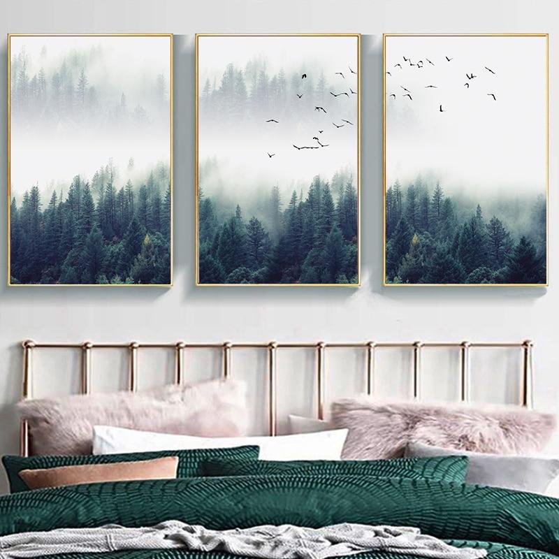 Orman manzara soyut duvar sanatı resim tuvali boyama posteri baskı dekor duvar sanat resmi s oturma odası dekorasyon