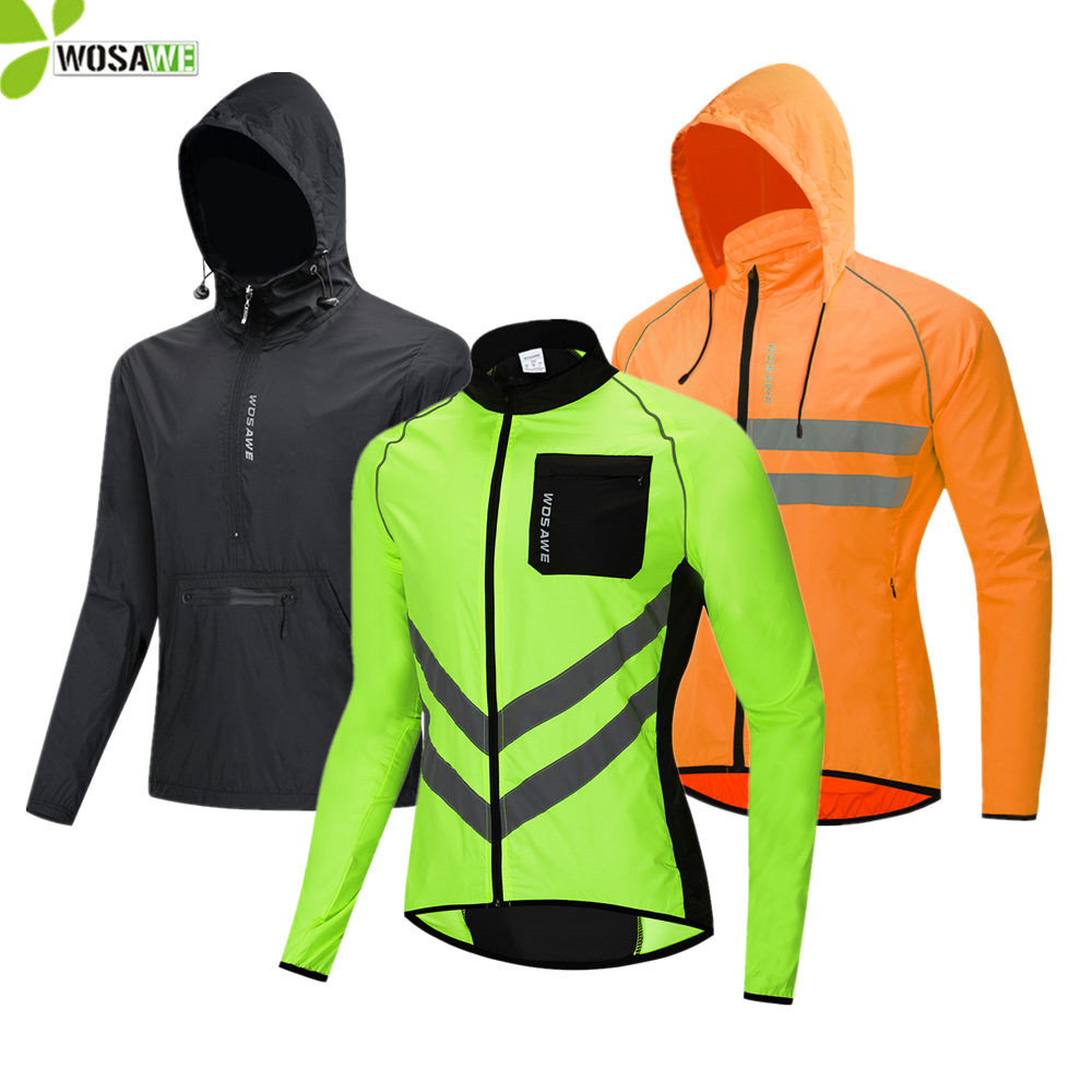 Mens Cycling Jacket With Hooded Windbreaker Lightweight Running Windproof Water-Resistant Coat