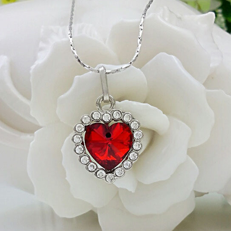 Romantic Jewelry Silver Necklaces Fashion Red Blue Heart <font><b>Crystal</b></font> Zircon Pendant Necklace for Women Female Love Gift image