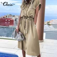 2021夏貨物ドレス女性ファッション半袖ミディサンドレスcelmiaラペルプラスサイズカジュアルルーズボタンオフィスvestidos 7