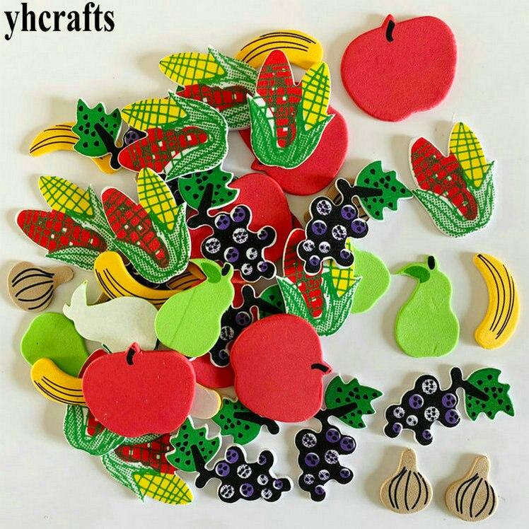 1 пакетов/лот, снежинка, рождественские наклейки из пены для раннего обучения, Обучающие поделки, diy игрушки, детская комната, орнамент, цветная обучающая креативная OEM - Цвет: 48PCS fruit