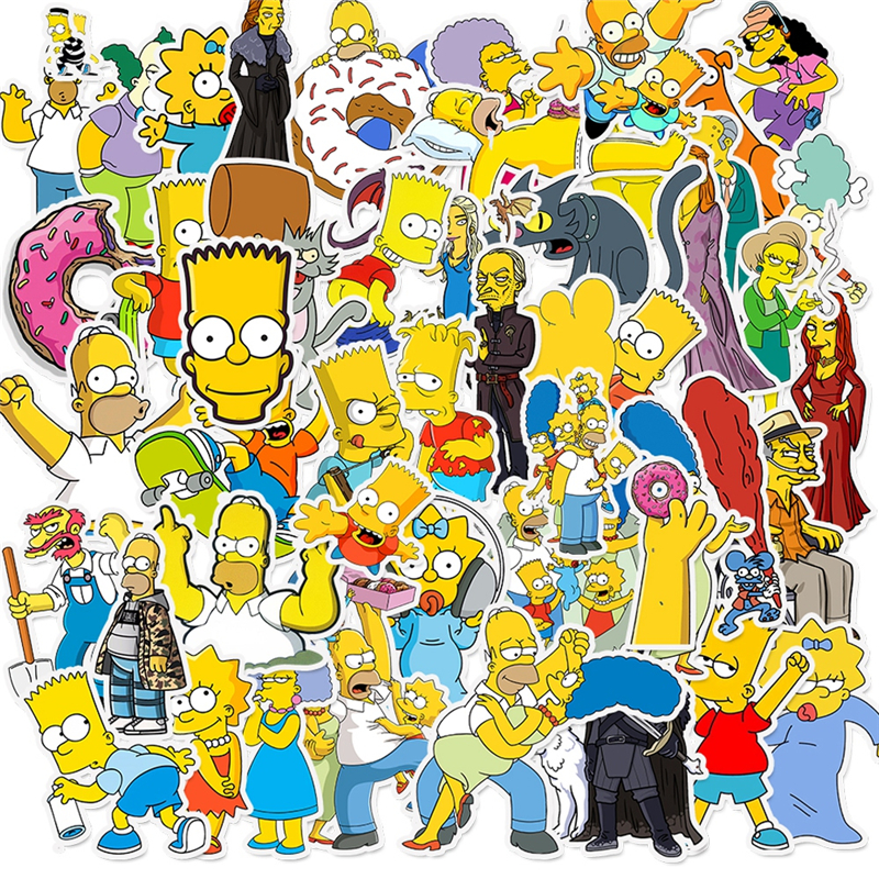 50pcs Simpson Cartoon TV Mixed Creative Stickers For Mobile Phone Laptop Luggage Guitar Case Skateboard Bike Car Decal Stickers