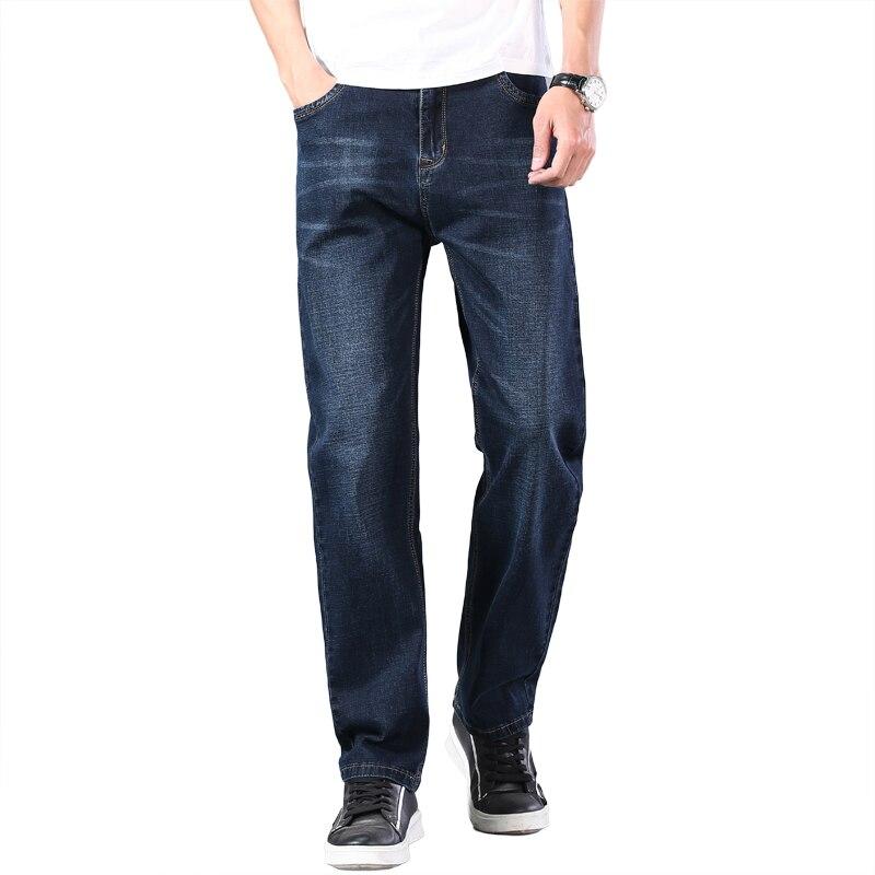 Джинсы мужские легкие прямые свободного покроя, классические Брендовые джинсовые брюки, тонкие джинсы темно-синего цвета, большие размеры ...