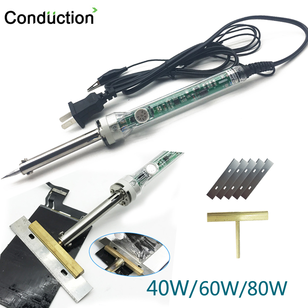 UK/EU/US Lectric Temperature Adjustable Soldering Iron 40W/60W /80W T Solder Tip With Free Hot Knife For LCD Screen Separation