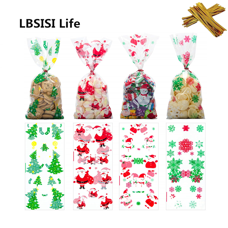 50pcs Christmas Bags Candy Cookie Bags With Twist Ties Holiday Favor Treat Gift for Party Supplies Christmas Decoration