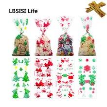 LBSISI Leben 50 stücke Weihnachten Taschen Candy Cookie Taschen Mit Twist Krawatten Urlaub Favor Geschenk für Partei Liefert Weihnachten Dekoration