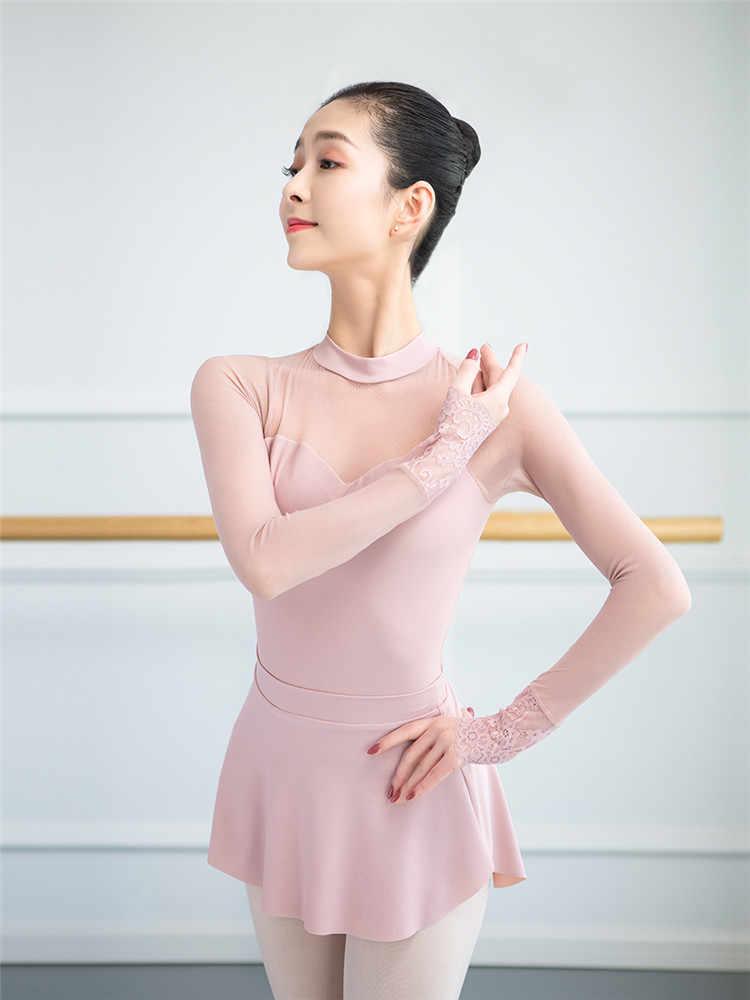 Stojak kołnierz Mesh Gym strój kobiety dorosłych trykoty dla dziewczynek sukienka do tańca Shapewear balet ćwiczenia gimnastyka trykot
