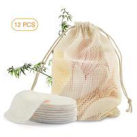 Almohadillas eliminadoras de maquillaje, 2 capas, fibra de bambú, algodón de maquillaje lavable para lavado de cara y limpieza de la piel, 12 Uds.