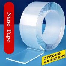 1 medidores de fita dupla face transparente nano fita auto-adesiva nenhum traço adesivo de cola de fita reutilizável para o banheiro da cozinha do carro