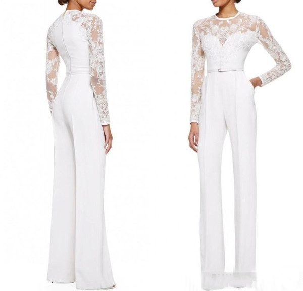 White Mother Of The Bride Dresses Sheath Long Sleeves Chiffon Appliques With Pants Suit Long Groom Mother Dresses For Weddings