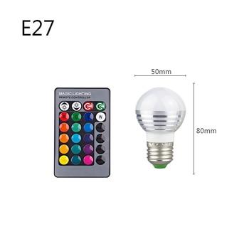 E27 E14 RGB Led Bulb 3W 5W 10W 15W Dimmable 16 Color Changing Magic Bulb Gu10  AC 220V 110V RGB White IR Remote  Night Light C3 9