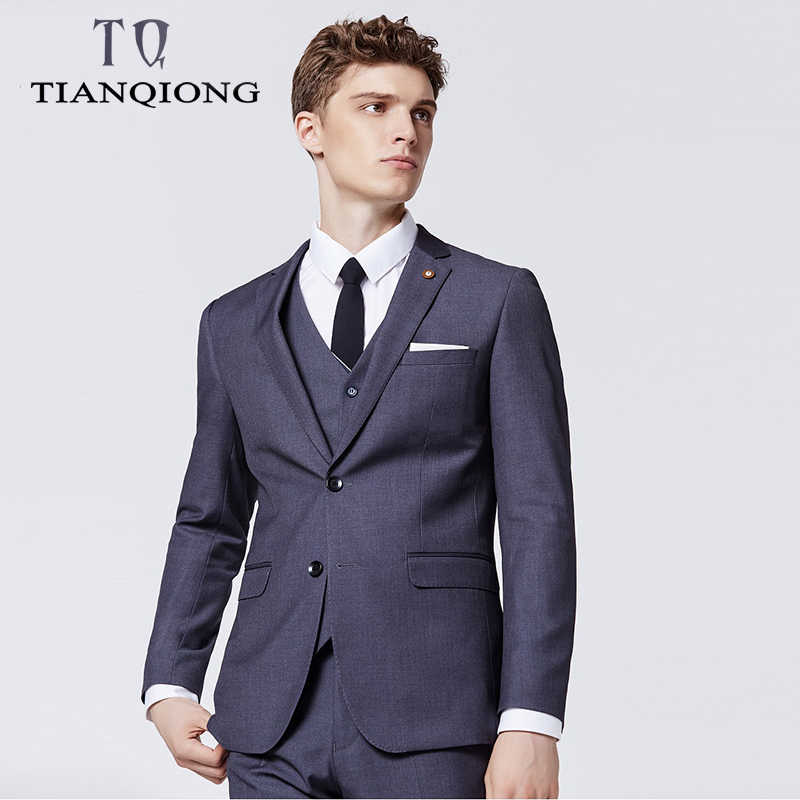 2019 New Arrival Black Blue Costume Homme Men Suits for Wedding 3Pieces(Jacket+Pant++Vest+Tie) Terno Masculino Groom Blazer