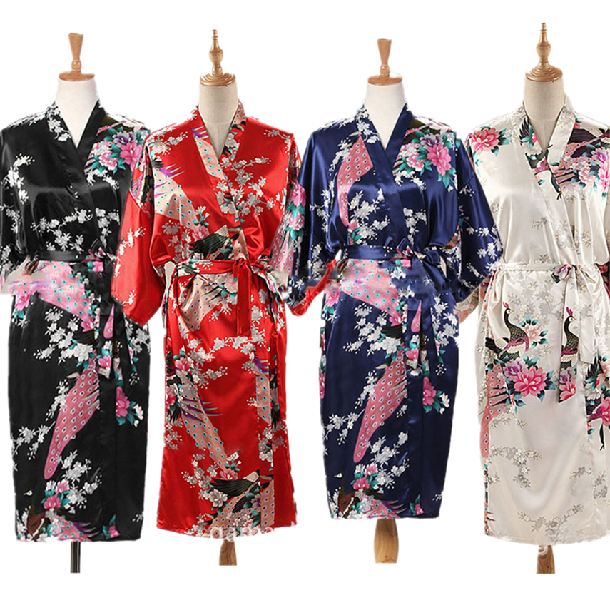 9Color Satin Japanese Style Kimono Women Yukata Dress Traditional Peacock Thin Clothing For Japanese Adult Loose Pajamas