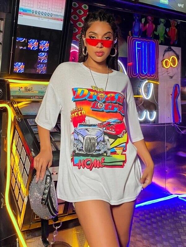 Sunfiz YF DreamCar футболка Повседневная Черная футболка с коротким рукавом милые футболки длинные Графические Топы женские футболки Топы женские летние футболки|Футболки|   | АлиЭкспресс