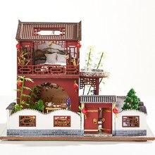 Кукольный домик DIY Миниатюрный Кукольный домик Модель деревянная игрушка мебель реалистичные милые куклы игрушечные дома для детей подарк...