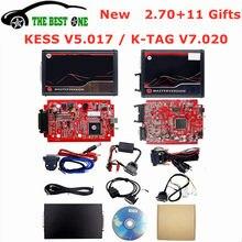 2.70 em linha da ue vermelho kess v5.017 obd2 gerente tuning kit ktag v7.020 4 led bdm quadro 22 pces adaptadores K-TAG 2.25 ecu programador
