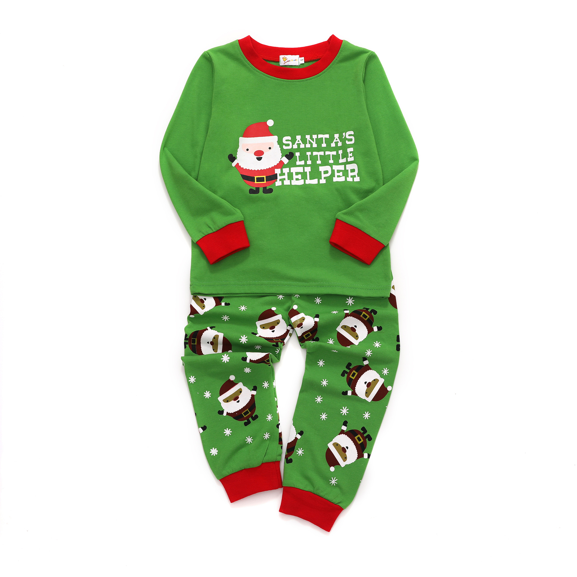 INS Autumn And Winter New Style Foreign Trade Childrenswear Santa Claus Long Sleeve Green Children Cotton Tracksuit Piece Wholes