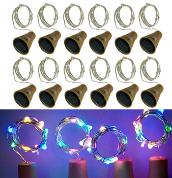 10Pcs Copper Wire LED Garland Solar Powered Cork Wine Bottle Lights Christmas LED String Lights Party Wedding Decoration Lamp