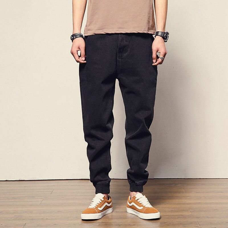 Korean Fashion Men Jeans Loose Fit Black Color Spliced Cargo Pants Harem Trousers Streetwear Designer Hip Hop Jeans Men Joggers