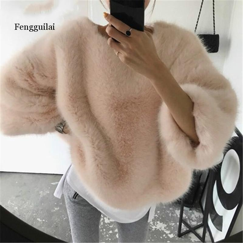 Fengguilai Solid Fashion Women Pullovers Loose Wool Warm Winter Clothes O-Neck Elegant Women Sweaters Sueter Mujer Invierno