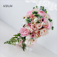 Brides Bouquet De Mariage Artificial Flowers Waterfall Wedding Bouquets With Crystal Bridal Bouquets SPH050