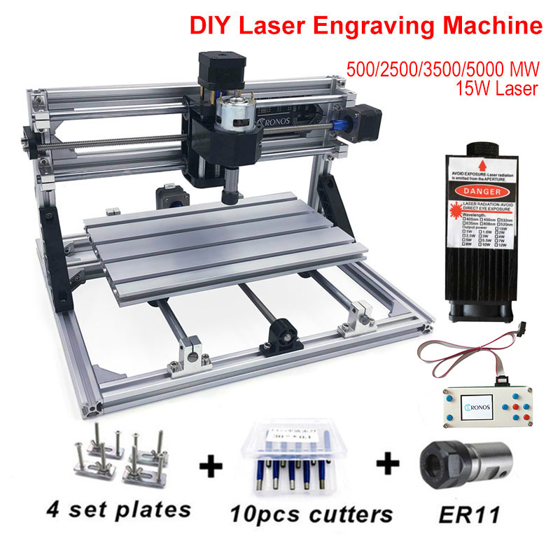 DIY Engraver Desktop Wood Router 500mw/2500/3500mw/5500mw/15w Laser CNC Machine 2Axis Working Area 30*18cm Mini Cutter Printer