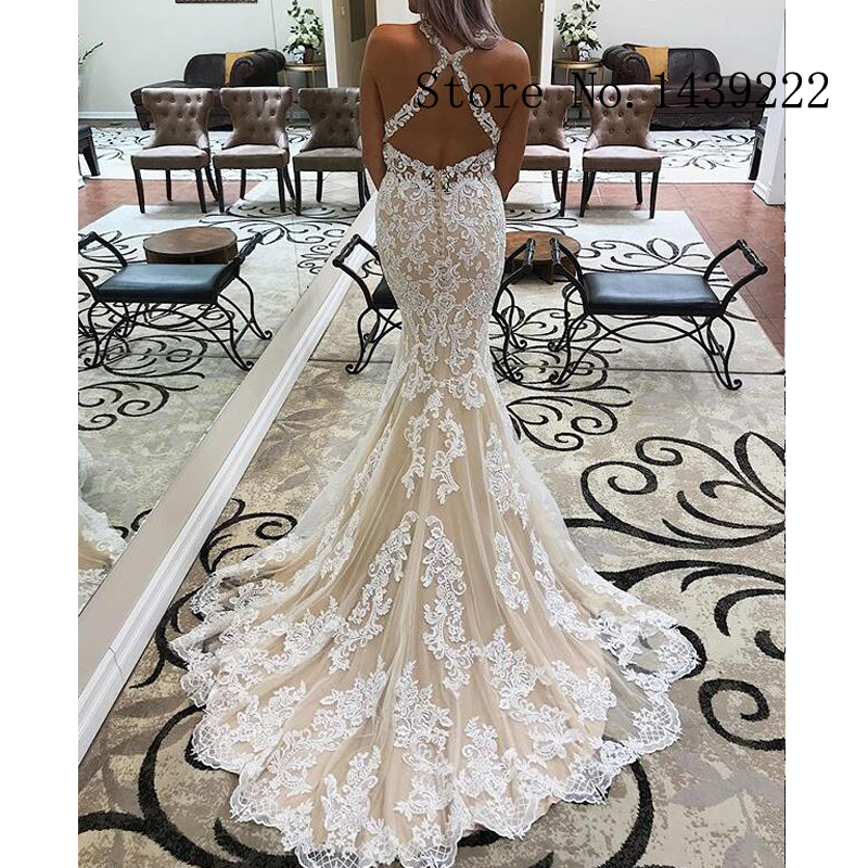 Sexy Lace Mermaid Halter Weddding Dresses Elegant Backless Appliques Boho Bridal Gown Formal Wedding Gown Custom Made