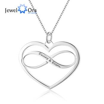JewelOra Personalisierte Unendlichkeit Herz Halskette mit Name Gravur Silber Farbe Custom Name Anhänger Halskette Geschenk für Besten Freund