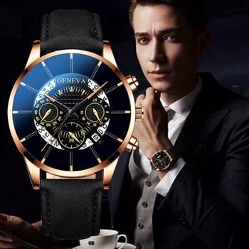 Men's Leisure Business Calendar Watch Belt Quartz Wristwatch Glass Quartz Analog Watches Sport Wrist Watch