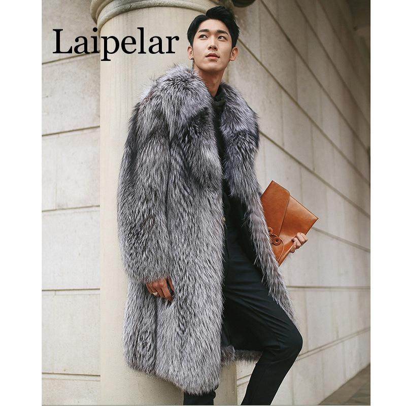 Laipelar New Mens Warm Plus Thickening Long Coat Jacket Faux Fur Coat Men Long Fox Fur Men's Fur Coat