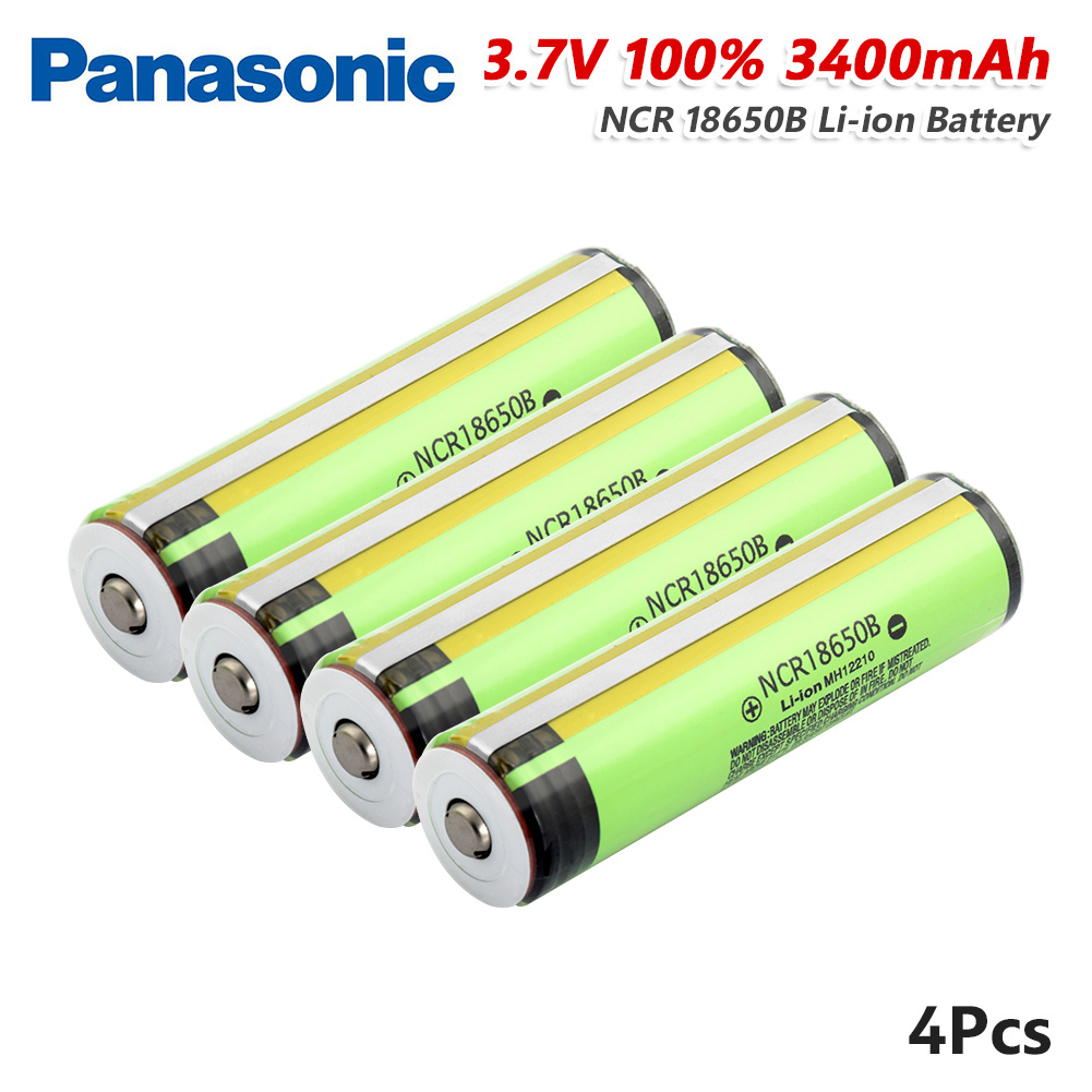 <font><b>Panasonic</b></font> <font><b>18650</b></font> New Protected NCR 18650B 3400 mah Li-ion Rechargeable battery 3.7 V with Pointed+ PCB For Flashlight batteries image