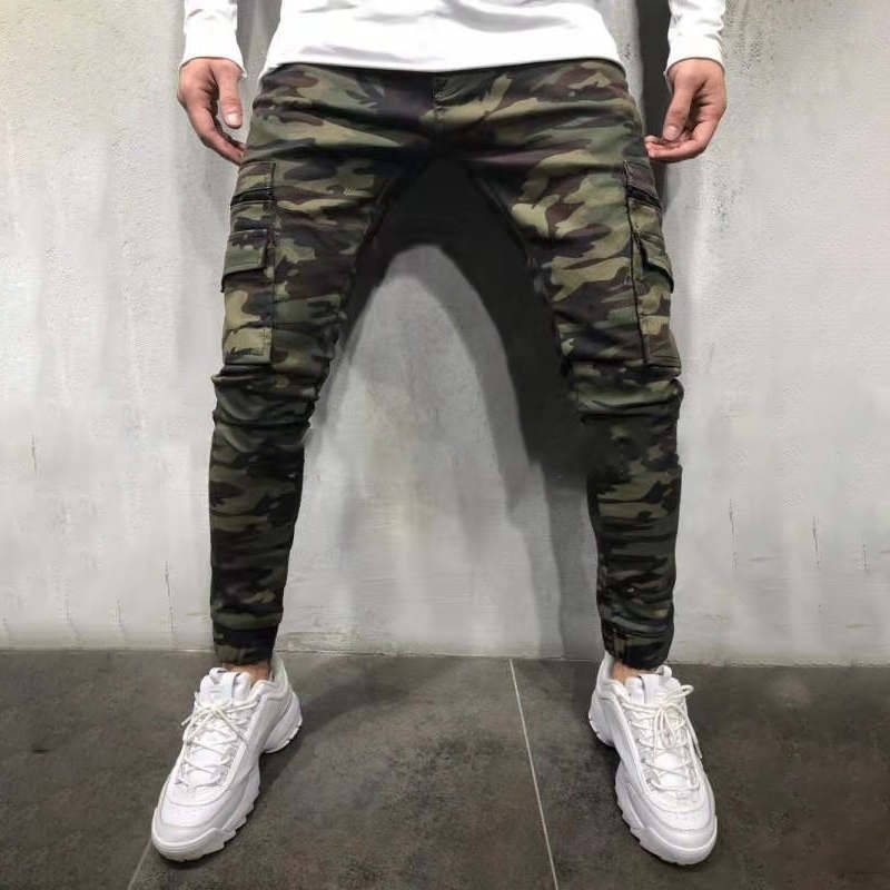 New Classic Men's Pants Army Green Camouflage Slim Long Pants Patchwork Casual Jeans Men Streetwear Clothes