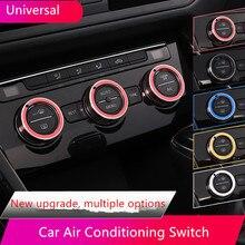 3Pcs 4.27cm Universal Car Air Conditioning Switch Knob Ring Cover Car Styling For VW Golf 7 Tiguan Atlas T-roc Button Aluminium