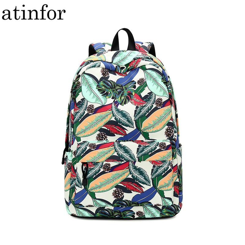 Atinfor Brand Fashion Water Resistant Women Backpack Printing Female School Bag Girls Daily College Laptop Bagpack