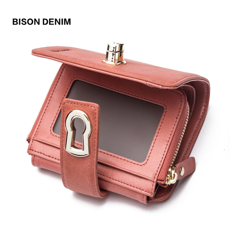 BISON DENIM  Genuine Leather Women Short Wallet  Women's Purse Zipper Metal Lock Purse Small Wallet Coin Pocket Cartera B3279