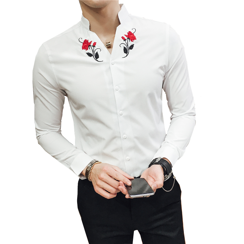 Summer Men Embroidered Flower Shirt Slim Design Size Camisa Teen Mens Shirts S M L XL XXL XXXL