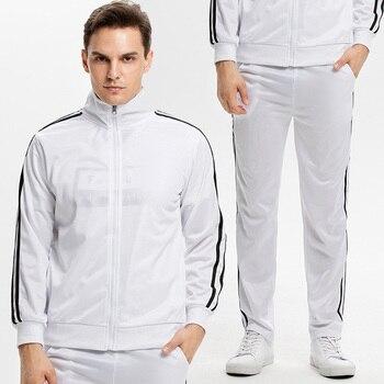Nouveau 2019 Sport costume vestes à glissière et pantalons de survêtement hommes décontracté coton automne/hiver chaud sweats hommes survêtement de Sport costume