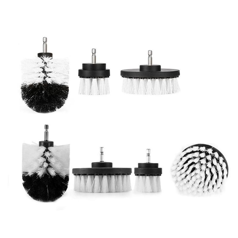 3/4pcs Plastic Electric Drill Brushes Kit Durable Tile Grout Cleaner Kit Multi-purpose Glass Auto Shoes Cleaning Tool