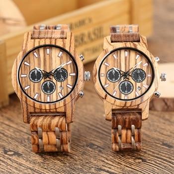 Reloj para hombre reloj de madera indicador de fecha casuales de los hombres de madera de lujo de deporte cronógrafo de cuarzo militar relojes en madera, regalos para los amantes