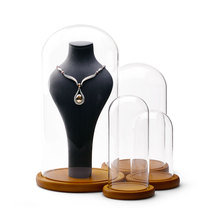 Oirlv  Fashion Jewelry Display Glass Dust Cover Transparent Necklace Support Dust Cover