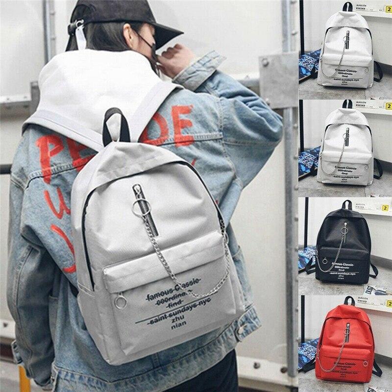 NoEnName-Null Fashion Women Girls Alphabet Print Backpack School Bag Chain Trend Double Shoulder Bag Rucksack