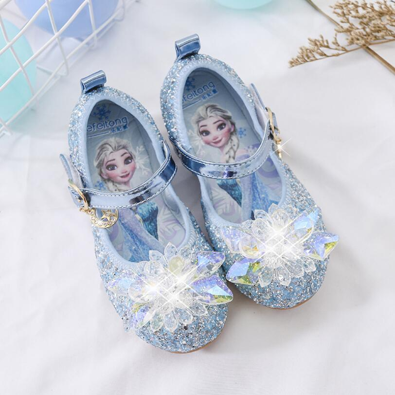 New Spring Autumn Kids Leather Flat Sandal For Girls Princess Elsa Dance Party School Children Shoes Butterfly Knot infant|Leather Shoes| |  - title=