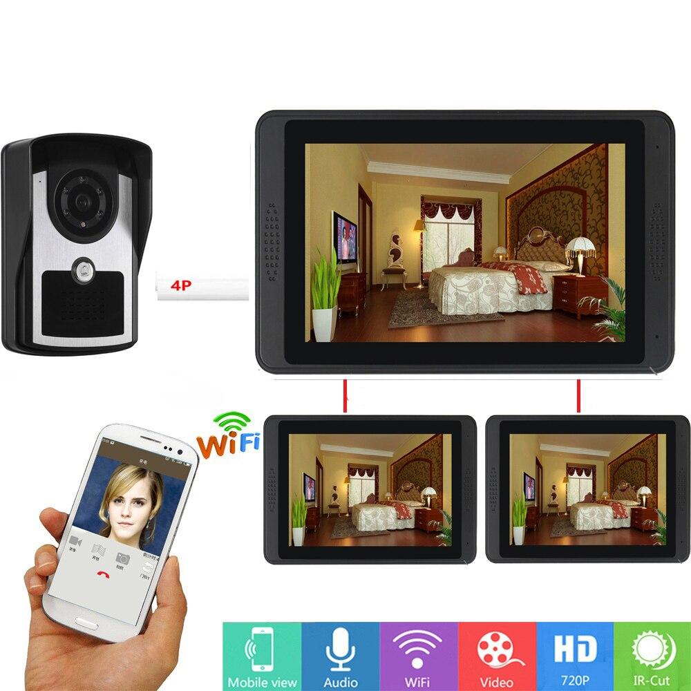 APP Remote Control Video Doorbell 7Inch LCD Wifi Wireless Video Door Phone Doorbell Intercom Camera System 1 WiFI 2 Wire Monitor