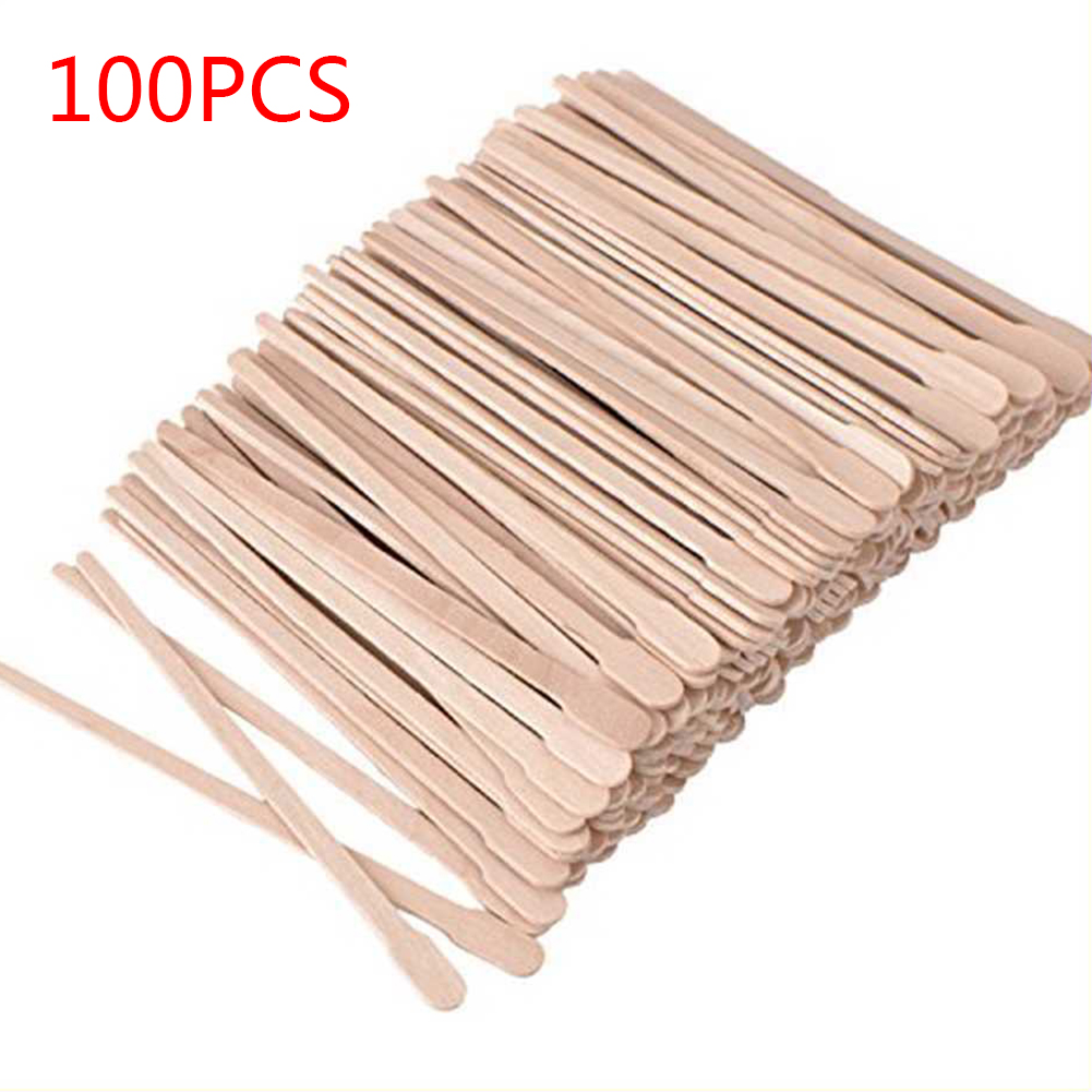 100pcs Hair Removal Waxing Sticks Applicator Flat Head Spatulas Depilation Face Eyebrows Salon Tool Body Tongue Depressor Small