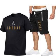 Conjunto de camiseta de verano para hombre, ropa deportiva de 2 piezas, traje de baloncesto, Fitness, Jordan-23, Manga corta estampada, 2021