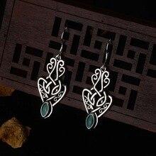 Boho, зеленый камень, маленькие висячие серьги, для женщин, полые серьги, висячие, серебряный цвет, винтажные индийские ювелирные изделия, крючок, серьги, этнические, DBE043
