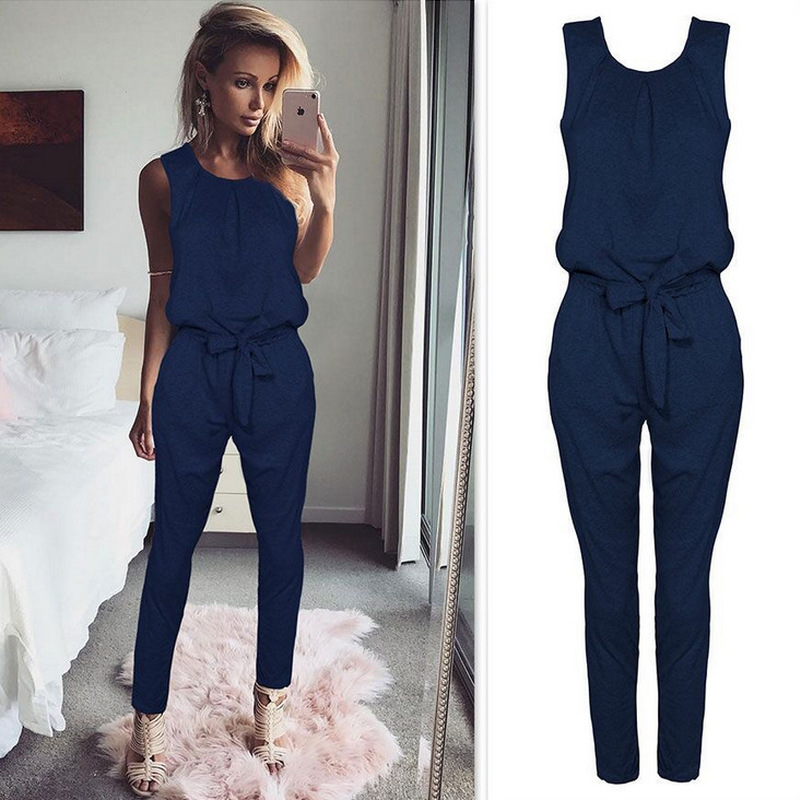 ZOGAA Summer Hot Sexy Sleeveless Jumpsuit Women Long Romper New Lady Fashion Jumpsuit Coveralls Sexy Female Black Bow Jumpsuits