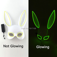 LED Masquerade Mask Lovely Rabbit EL Glowing Bunny for Birthday Party Halloween Costume Accessory Decor