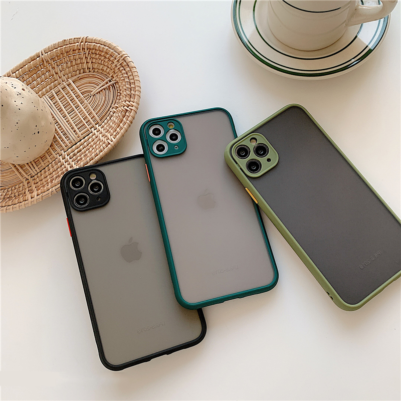 Matte Translucent Camera Protection Bumper Phone Cases For iPhone 11 11 Pro Max XR XS 8