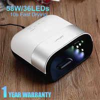 SUN3 indolore ongles sèche lampe à UV LED manucure 58W glace lampe tout pour ongles Machine de séchage LCD affichage UV Gel sec ongles Art